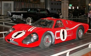 Winner at 1967 LeMans, Ford GT40 Mark IV: Dan Gurney and A.J. Foyt drove this Ford GT40 Mark IV to the second of four consecutive Ford wins at Le Mans in 1967. It was the first victory at Le Mans for an all-American driver lineup in an American-built race car. On the victory podium, Gurney popped the champagne cork and sprayed the bubbly over the surrounding people. That started a race winner's tradition that has continued ever since. (11/01/2011)