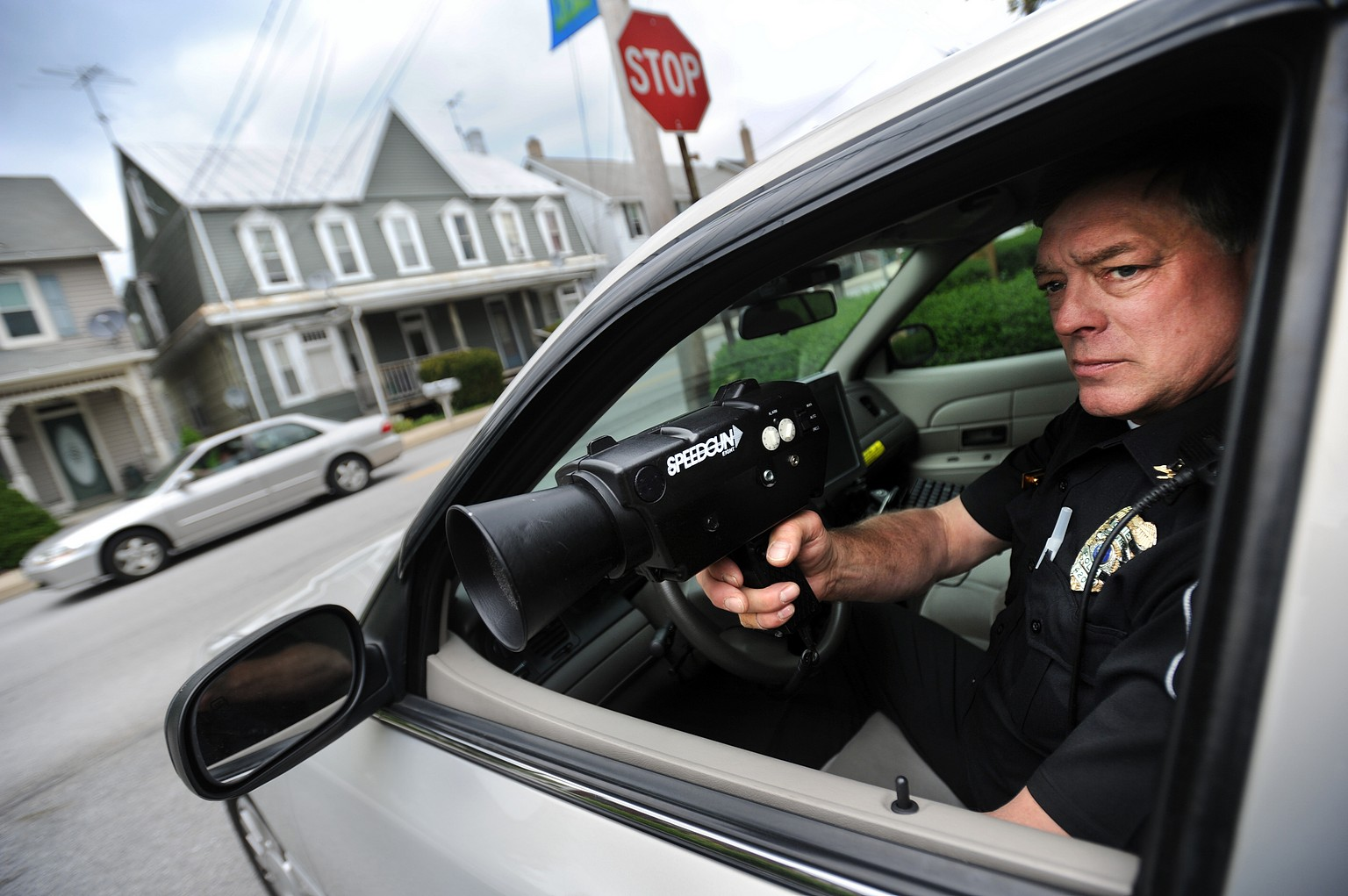 Southern Regional Police Dept Chief of Police Chief James Boddington demonstrates a radar gun, which are not used by municipal police in the state of Pennsylvania. Several state legislators support a bill to change that. Local police say the current law is ridiculous, including Boddington, who says radar is a faster, cheaper, more accurate tool. YORK DAILY RECORD/SUNDAY NEWS--JASON PLOTKIN