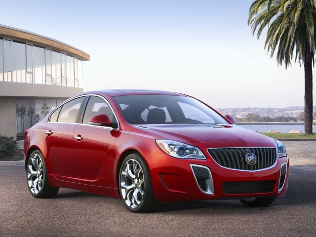 2014 Buick Regal GS ? front view with Copper Red Metallic exterior color and 20-inch Alloy polished wheels